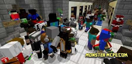 Minecraft crowd of players