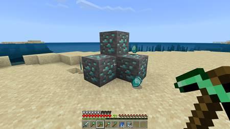 pickaxe mined diamond ore
