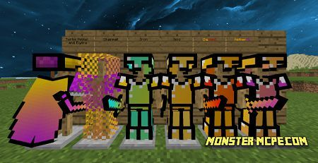 Preview of armor, elytra, and swords on character
